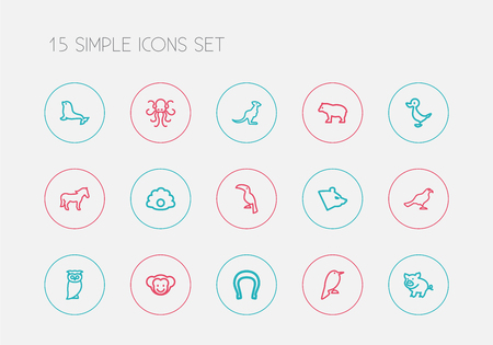 Set of editable animal icons line style. Includes symbols such as philomel, polar, steed and more. Can be used for web, mobile, UI and infographic design.