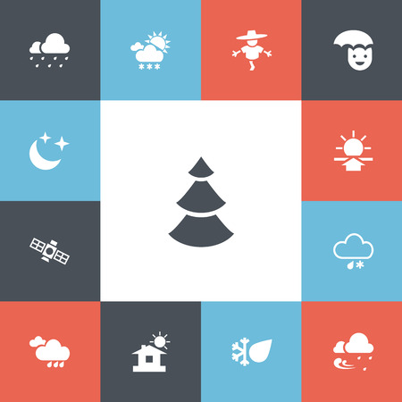 Set of 13 editable climate icons.