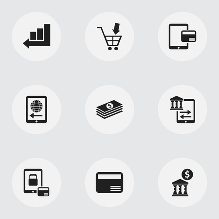 Set of 9 editable financial icons. Includes symbols such as line chart, internet sale, court house and more. Can be used for web, mobile, UI and infographic design.