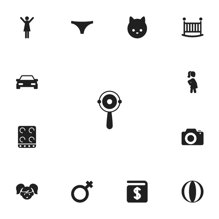 Set of 13 editable relatives icons. Includes symbols such as ball, camera, pregnant woman and more. Can be used for web, mobile, UI and infographic design.