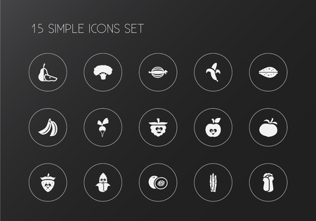 Set of 15 editable vegetable icons. Includes symbols such as broccoli, maize, fresh fruit and more. Can be used for web, mobile, UI and infographic design.