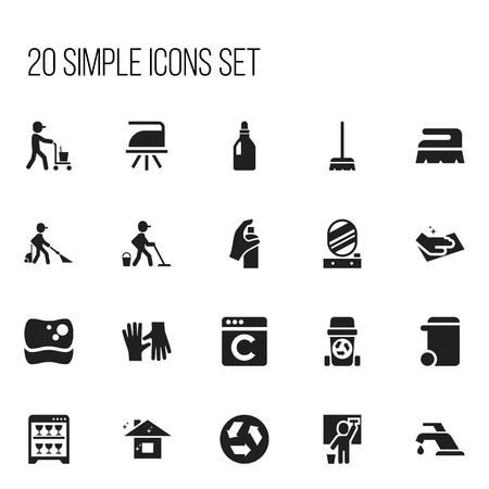 Set of 20 editable cleanup icons. Includes symbols such as sweep, cleaner, whisk and more. Can be used for web, mobile, UI and infographic design.