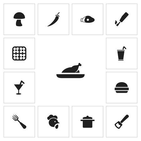 Set of 13 editable meal icons. Includes symbols such as saucepan, kitchen lighter, grill and more. Can be used for web, mobile, UI and infographic design. Иллюстрация