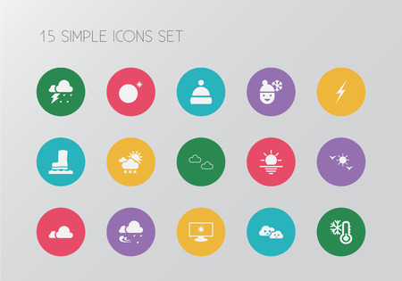 Set of 15 editable climate icons. Includes symbols such as sunshine, rainstorm, frosty weather and more. Can be used for web, mobile, UI and infographic design. Illustration