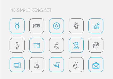 Set of 15 editable science icons line style. Includes symbols such as ink, letter, ball and more. Can be used for web, mobile, UI and infographic design. Illustration