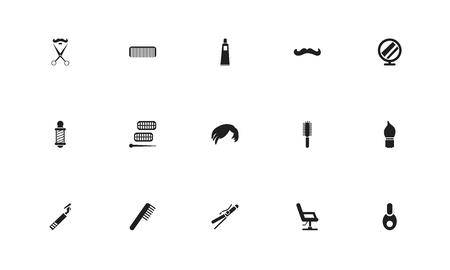 Set van 15 bewerkbare coiffeurspictogrammen. Bevat symbolen zoals trimmen, curler-apparaat, kam en meer. Kan worden gebruikt voor web, mobiel, UI en infographic ontwerp. Stock Illustratie