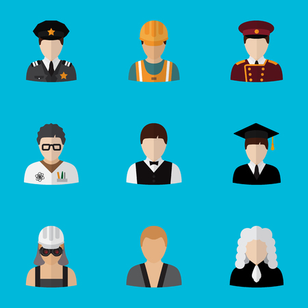 Set of 9 editable profession icons flat style. Includes symbols such as officer, scientist, laborer and more. Can be used for web, mobile, UI and infographic design. Illustration
