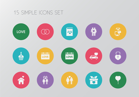 Set of 15 editable amour icons. Includes symbols such as banner, couple, gift and more. Can be used for web, mobile, UI and infographic design. Illustration