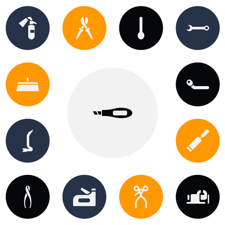 Set of 13 editable apparatus icons. Includes symbols such as wrench, chisel scraper, wheel wrench and more. Can be used for web, mobile, UI and infographic design.