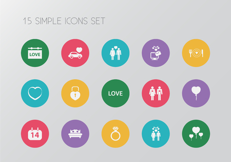 Set of 15 editable amour icons. Includes symbols such as couple, automobile, bed and more. Can be used for web, mobile, and info graphic design.