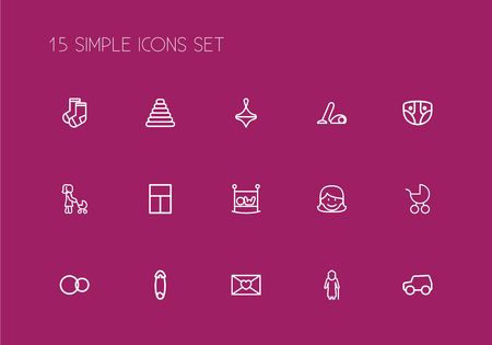 Set of 15 editable folks icons line style. Includes symbols such as sweeper, affection letter, clothes and more. Can be used for web, mobile, UI and infographic design.