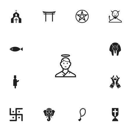 Set of 13 editable dyne icons. Includes symbols such as imam, ichthys, swastika and more. Can be used for web, mobile, UI and infographic design.