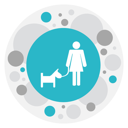 illustration of kin symbol on woman walking a dog icon. Premium quality isolated puppy together lady element in trendy flat style. Stock Photo