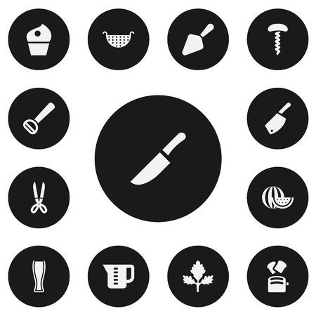 Set of 13 editable meal icons includes symbols such as corkscrew, watermelon, measuring cup and more. Can be used for web, mobile, UI and information graphic design.