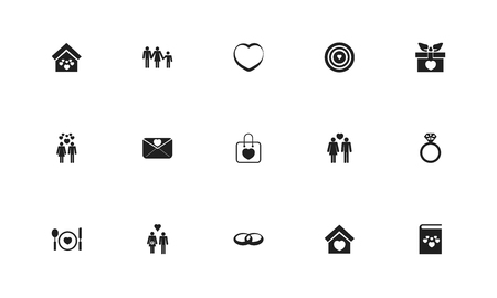 Set of 15 editable love icons. Includes symbols such as plate, shopping bag, people and more. Can be used for web, mobile, UI and infographic design.