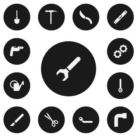 Set of 13 editable equipment icons. Includes symbols such as scalpel, wrench, wheel wrench and more. Can be used for web, mobile, UI and infographic design. Illusztráció