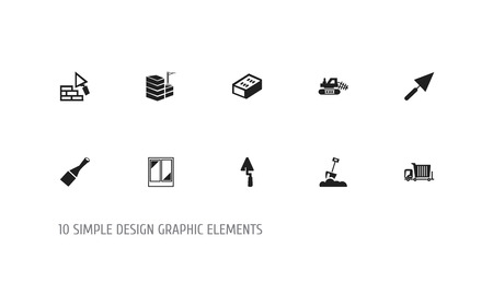 Set of 10 editable structure icons. Includes symbols such as chisel, bogie, building and more. Can be used for web, mobile, UI and infographic design.