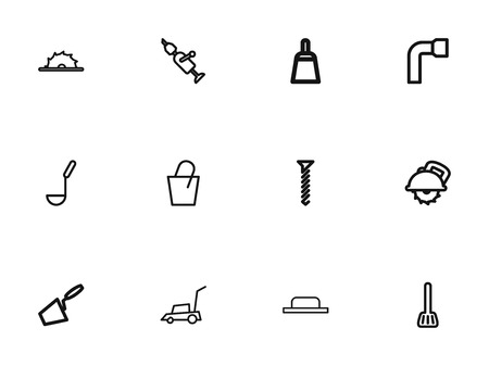 Set of 12 editable instrument icons line style. Includes symbols such as lawn mower, cuisine utensil, soup ladle and more. Can be used for web, mobile, UI and infographic design. Illustration