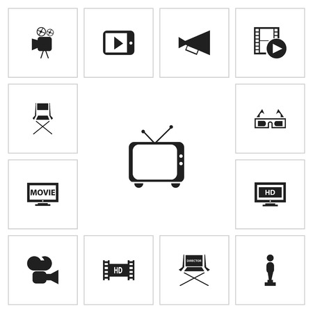 Set of 13 editable filming icons. Includes symbols such as retro tv, bullhorn, recorded media and more. Can be used for web, mobile, UI and infographic design. Ilustração