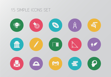 Set of 15 editable teach icons. Includes symbols such as courthouse, dividers measurement, radical and more. Can be used for web, mobile, UI and infographic design. Illustration