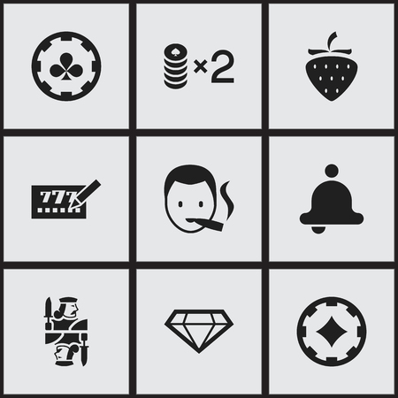 Set of 9 editable excitement icons. Includes symbols such as ring, diamond, ace of diamonds and more. Can be used for web, mobile, UI and infographic design.  イラスト・ベクター素材
