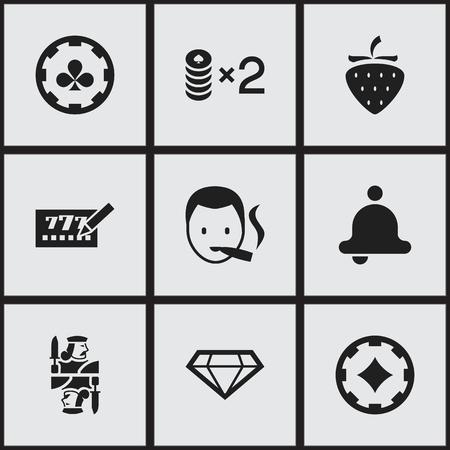 9編集可能な興奮アイコンのセット。リング、ダイヤモンド、ダイヤモンドのエースなどのシンボルが含まれています。ウェブ、モバイル、UI、イン  イラスト・ベクター素材