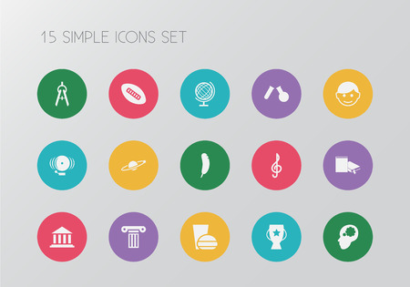 Set of 15 editable science icons. Includes symbols such as sphere, student, championship and more. Can be used for web, mobile, UI and infographic design. Illustration