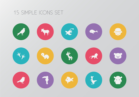 Set of 15 editable zoo icons. Includes symbols such as aquatic, chicken feet, whale and more. Can be used for web, mobile, UI and infographic design.
