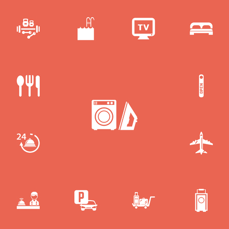 Set of 13 editable plaza icons. Includes symbols such as luggage, parking, basin and more. Can be used for web, mobile, UI and infographic design.