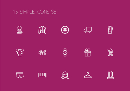 Set of 15 editable business icons line style. Includes symbols such as specie, truck, coat and more. Can be used for web, mobile, UI and infographic design. Vectores