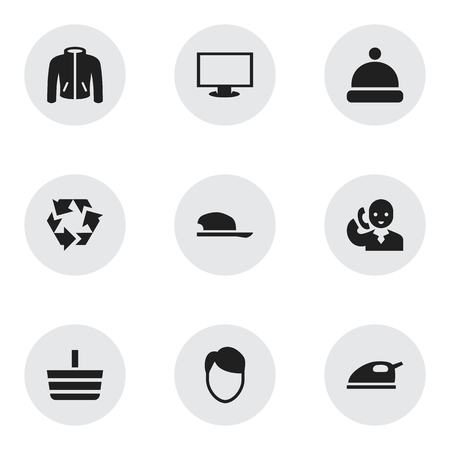 Set of 9 editable shopping icons. Includes symbols such as monitor, hairstyle, clothes and more. Can be used for web, mobile, UI and infographic design. Vettoriali