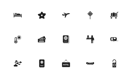 Set of 15 editable journey icons. Includes symbols such as heat, sleep, citizenship certificate and more. Can be used for web, mobile, UI and infographic design. Stock Photo