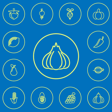 Set of 12 editable food icons line style. Includes symbols such as avocado, corn, grape and more. Can be used for web, mobile, UI and infographic design.
