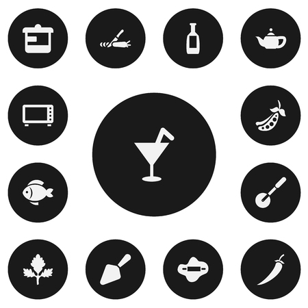 Set of 13 editable meal icons. Includes symbols such as bean pod, trowel, parsley and more. Can be used for web, mobile.