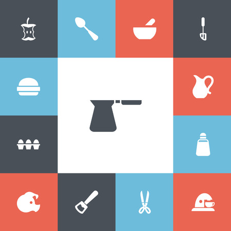 Set of 13 editable cooking icons. Includes symbols such as eggs, pitcher, apple core and more. Can be used for web, mobile. Banque d'images - 94404144