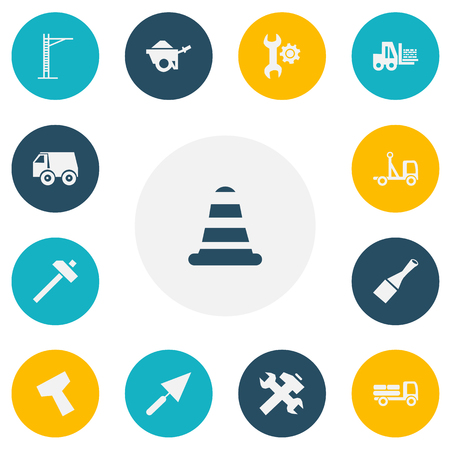 Set of 13 editable building icons. Includes symbols such as weight, crane, forklift and more. Can be used for web, mobile. Illustration