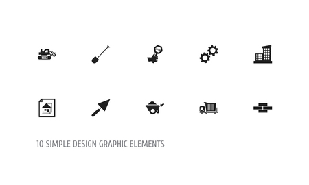 Set of 10 editable building icons. Includes symbols such as bogie, mule, apartment and more. Can be used for web, mobile.