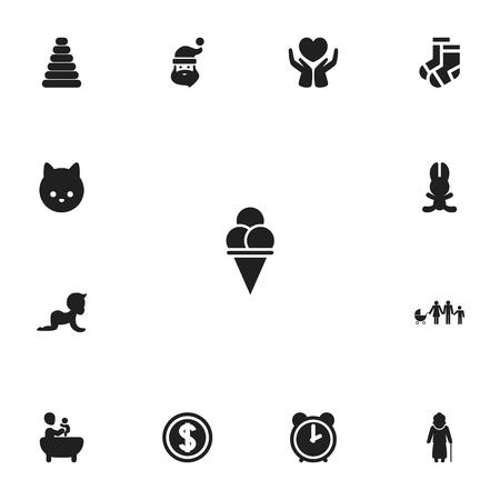 Ensemble de 13 icônes de parents modifiables. Inclut des symboles tels que le père Noël, le dollar, le lapin et plus. Peut être utilisé pour le web, mobile. Banque d'images - 94414464