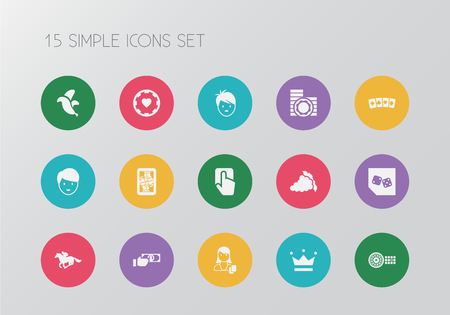 Set of 15 editable game icons. Includes symbols such as pressing button, banana, backgammon and more. Can be used for web, mobile. Stock Vector - 94414466