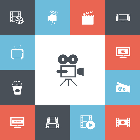Set of 13 editable cinema icons. Includes symbols such as movie camera, definition, record and more. Can be used for web, mobile, and infographic design.