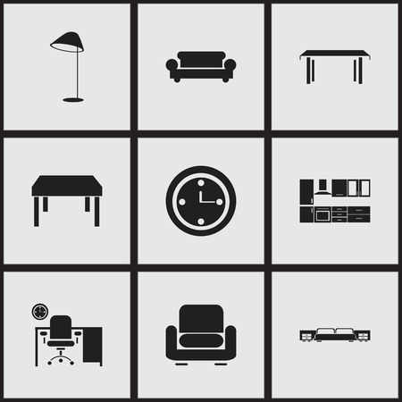 Set of 9 editable furnishings icons. Includes symbols such as office, recliner, canape and more. Can be used for web, mobile, UI and infographic design.