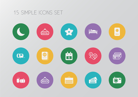 Set of 15 editable journey icons. Includes symbols such as beach, flower, ticket and more. Can be used for web, mobile, UI and infographic design.