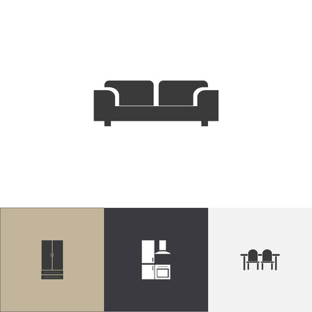 Set of 4 editable furniture icons. Includes symbols such as cuisine, restaurant table, sofa and more. Can be used for web, mobile, UI and infographic design.
