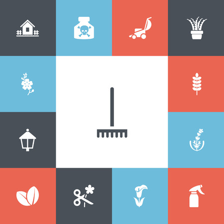 Set of 13 editable planting icons. Includes symbols such as lamp, rake, jasmine and more. Can be used for web, mobile, UI and infographic design.