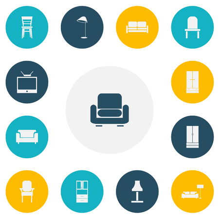 Set of 13 editable furniture icons. Includes symbols such as glim, couch, wardrobe and more. Can be used for web, mobile, UI and info-graphic design. Illustration
