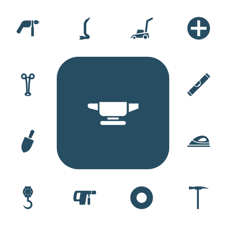 Set of 13 editable apparatus icons. Includes symbols such as weighing machine, drill, nail puller and more. Can be used for web, mobile, UI and infographic design.