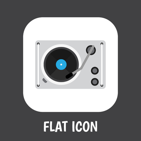 A Vector illustration of tech symbol on gramophone icon flat. Premium quality isolated turntable element in trendy flat style.