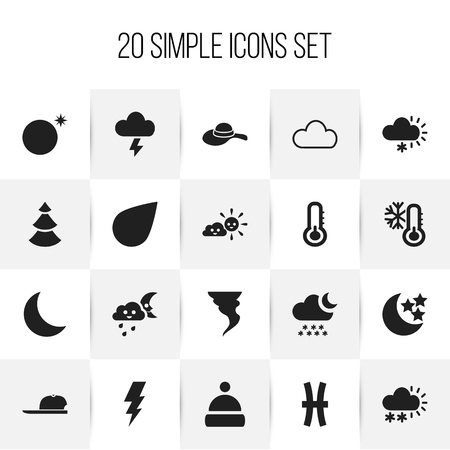 Set of 20 editable climate icons. Includes symbols such as sunny weather, hat, crescent overcast and more. Can be used for web, mobile, UI and infographic design. Illustration