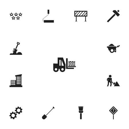 Set of 13 editable construction icons. Includes symbols such as road sign, shovel, architecture and more. Can be used for web, mobile, UI and infographic design. Ilustração