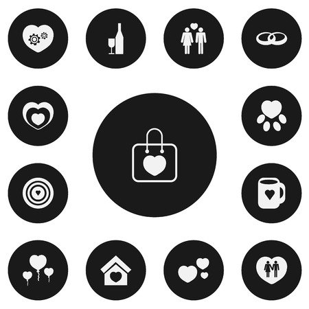 Set of 13 editable amour icons. Includes symbols such as cupid target, darlings, valentine balloons and more. Can be used for web, mobile, UI and infographic design. Illustration